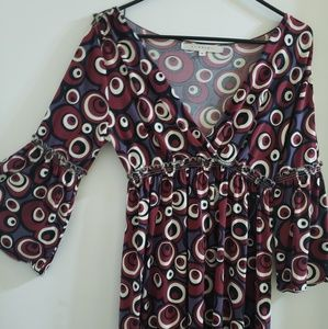 Bell Sleeve Maroon Dot Dress